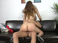 Tall and skinny Carol Vega gets facial after a good fuck