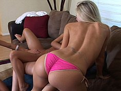 Four lesbian babe lick each other