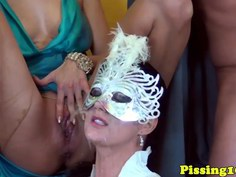 Peefetish glamour sluts groupfuck during party