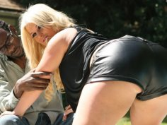Awesome blonde hottie gets shocked with huge black cock