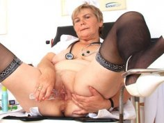 Cougar masturbation with a medical-instrument in uniforms