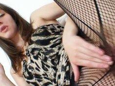 Euro girlie Alice got super legs and gorgeous red nylon nylons