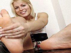 Cute blonde Ruth bare feet show and footjob