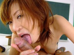 Aroused Jun Kusanagi uses her mouth and feet