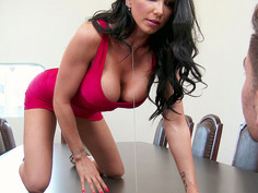 Romi Rain climbed onto the table and showed him her vagina