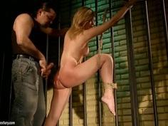 Enslaved tied up Safira White spanked & banged