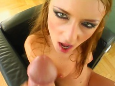 Redhead girlie is giving really nice blowjob