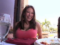 Hot latina Selena Castro gets filmed in restaurant