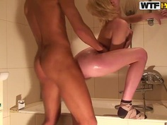 Dark lover cleans the anal tube of young blonde