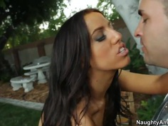 Hot brunette curve Venice fucks with Kris Slater somewhere outside