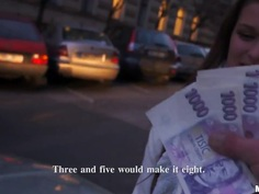 A girl on the street is offered cash for tits