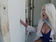 Glory hole sex action with busty blonde Holly
