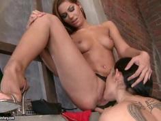 Cipriana eats Melon's hairy, pierced pussy