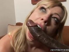 Pale blonde Adrianna Nicole teakes on monster cock