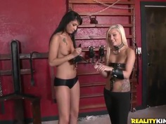Blonde girl gets bondaged and achieves hot cunnilingus by brunette hottie and bald boy