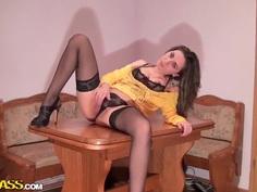 Sexy ass brunette Anka enjoys in getting slammed hard