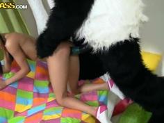 Sexy teen Lerok horny fun time with panda