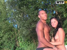 Bella gets banged outdoor by black buck
