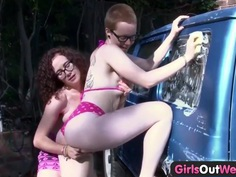Girls Out West - Lesbian hairy pussy gets fingered