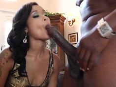 Skin Diamond wraps her moist lips round a massive dick