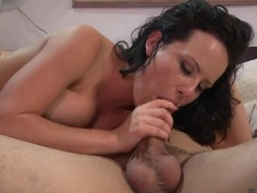 Katie St Ives wraps her moist lips round this hard dick