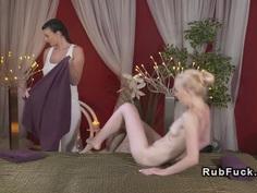 Lesbian masseuse licks nipples and pussy