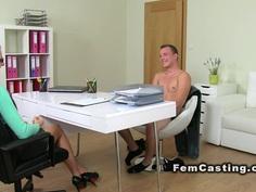 Shaved cunt agent fucks amateur guy