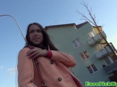 Eurosex girlnextdoor pussyfucked in public