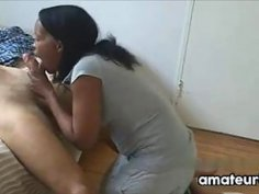 Ebony Maid Gives A Blowjob
