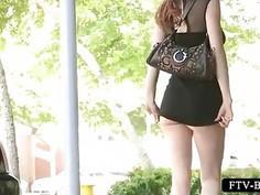 Outdoor masturbation for teenage redhead sex doll