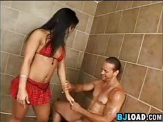 Asian Babe Smokes In A Shower