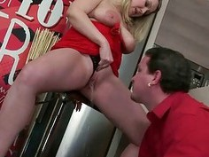 Chubby bitch fucking and pissing on a guy