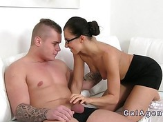 Female agent with glasses banged on casting