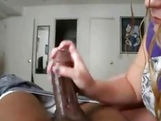 Wife Stroking a Black Cock