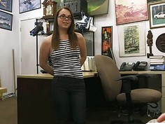 Babe in glasses pawns her pussy and banged at the pawnshop