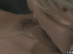 Tattooed blonde and brunette lesbians had oral sex