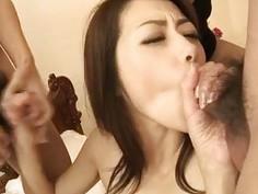 Hairy japanese milf Maki Hojo ganged hard