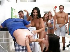 Smoking college women are having orgy enjoyment