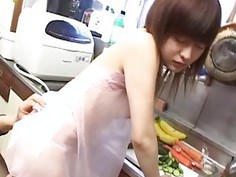 CMNF unfaithful Japanese wife kitchen foreplay