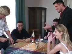 cute teen in drinking gangbang
