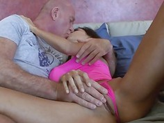 Creepy step dad exploded over Trinitys perky tits