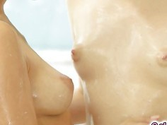 Cassidy and Aria taking a shower naked kissing passionately