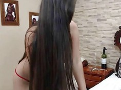 Red thong Latina performing from Tokio