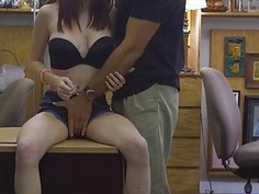 Bitch in glasses gets banged by pawn dude at the pawnshop
