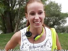 Amateur Czech babe boned by strangers for a few bucks