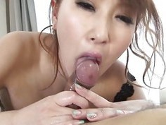 Japanese babe with biggest tits rides on a dildo