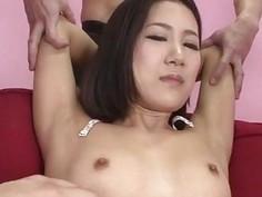 Arousing hardcore trio with small tits Kyoka Sono