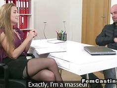 Muscled masseur fucks female agent