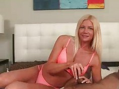 Milf Teases His Cock Tip Driving To The Edge