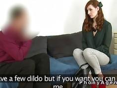Slim Russian redhead fucks in casting